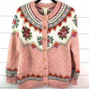 Sundance Pink Wool Floral Button Down Sweater